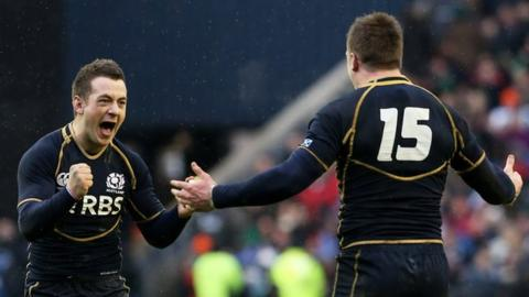 Greig Laidlaw celebrates Scotland's victory at Murrayfield