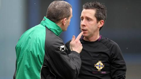 Donegal Celtic manager Pat McAllister was sent-off during the 0-0 draw at Coleraine following an exchange of views with referee Ross Dunlop