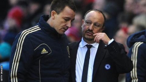Chelsea interim manager Rafael Benitez (right) and defender John Terry