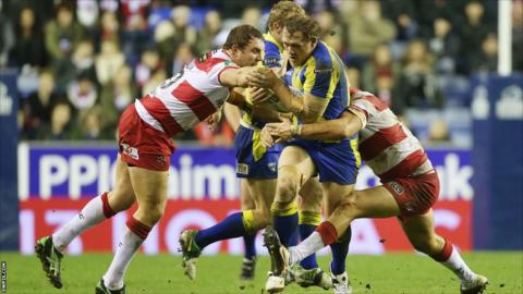 Ben Westwood looks to breach the Wigan Warriors defence