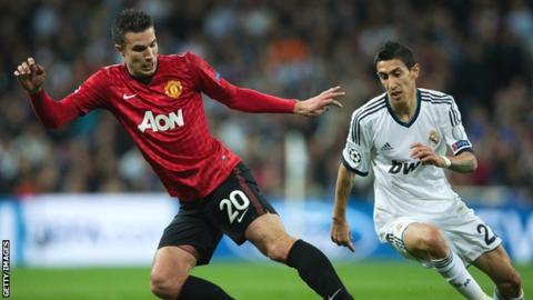Manchester United striker Robin van Persie in action against Real Madrid
