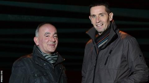 Cliftonville manager Tommy Breslin and Crusaders boss Stephen Baxter