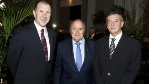 Stewart Regan, Sepp Blatter and Campbell Ogilvie