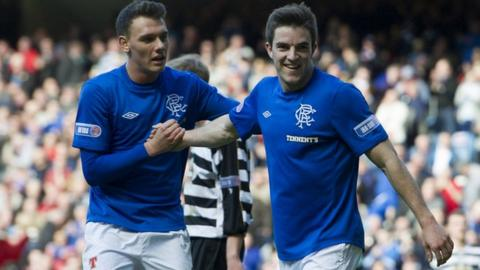 Rangers players Kal Naismith and Andy Little