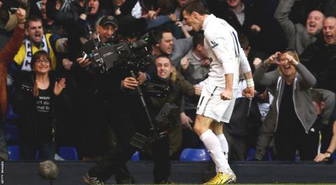 Gareth Bale celebrates scoring.