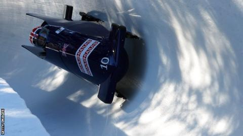Gill Cooke in bobsleigh action