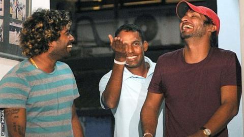 Lasith Malinga, Thilan Samaraweera and Kumar Sangakkara