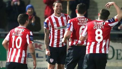 Rory Patterson celebrates after scoring against Drogheda
