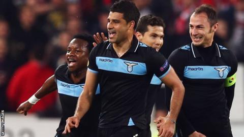 Ederson of Lazio celebrates goal