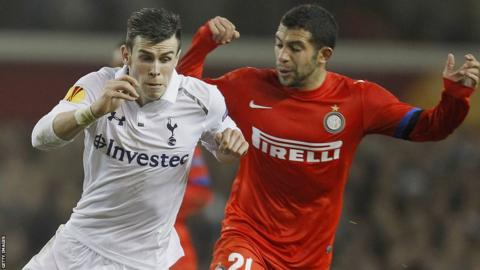 Gareth Bale heads home as Tottenham Hotspur beat Europa League last-16 rivals Inter Milan 3-0 in the first leg at White Hart Lane