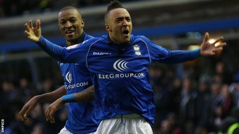 Birmingham goalscorers Nathan Redmond (right) and Wes Thomas