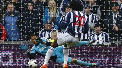 West Bromwich Albion's Romelu Lukaku equalises but then has a penalty saved by Swansea City goalkeeper Michel Vorm