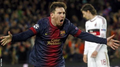 Barcelona forward Lionel Messi celebrates scoring against AC Milan