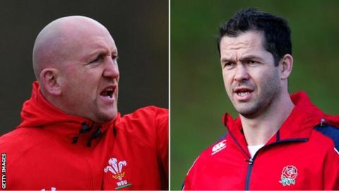 Wales defence coach Shaun Edwards and England skills coach Andy Farrell