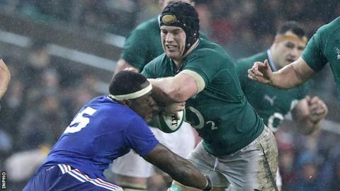 Sean O'Brien tries to barge past France's Yannick Nyanga last weekend