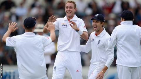 England and Stuart Broad celebrate