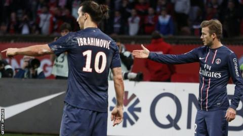 Zlatan Ibrahimovic (left) and David Beckham