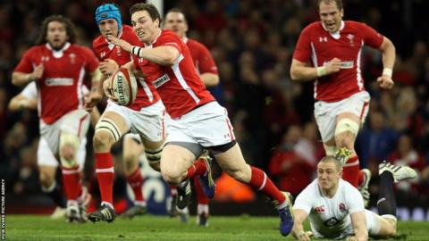 A desperate ankle tap from England wing Mike Brown denies George North after the Wales wing launches a counter attack from deep in his own half