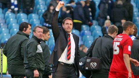 Malky Mackay celebrates victory at Sheffield Wednesday