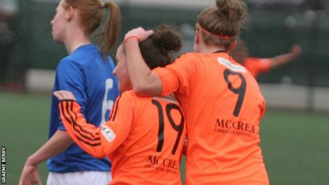 Sarah Crilly is congratulated on her opening goal for City