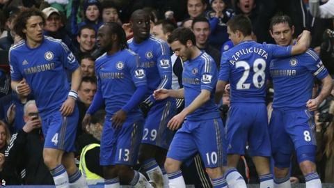Frank Lampard, David Luiz, Victor Moses, Demba Ba, Juan Mata, Cesar Azpilicueta