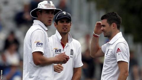 Stuart Broad, Alastair Cook and James Anderson