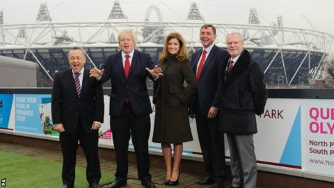 West Ham United Chairman David Sullivan, Mayor of London Boris Johnson, West Ham United Chief Executive Karren Brady, Mayor of Newham Sir Robin Wales and West Ham United Chairman David Gold