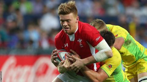 Cory Allen helps Wales Sevens beat their Australian counterpart 19-12 in the opening game of their IRB Hong Kong Sevens challenge