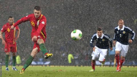 Aaron Ramsey draws Wales level with his penalty in their 2-1 won over Scotland.