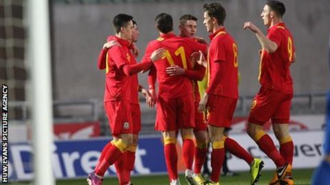 Wales under-21s celebrate a goal