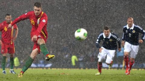 Aaron Ramsey scores for Wales against Scotland.