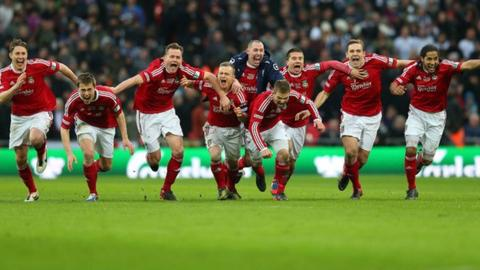 Wrexham celebrate winning the FA Trophy