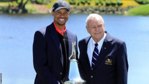 Tiger Woods and Arnold Palmer at the 2013 Arnold Palmer Invitational