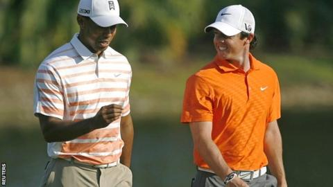 Tiger Woods (left) replaced Rory McIlroy as world number one after winning his third event of 2013
