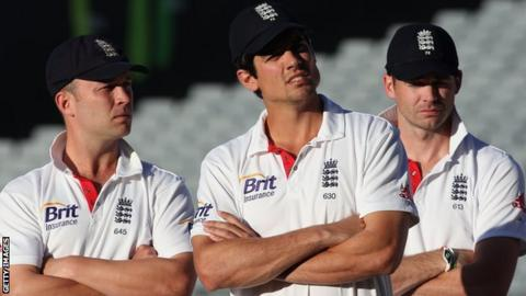 Jonathan Trott, Alastair Cook and James Anderson