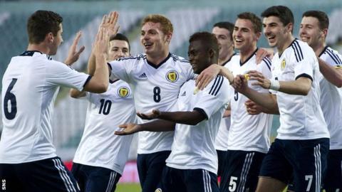 Scotland's U21 side celebrate a goal against Portugal