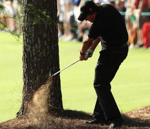 Phil Mickelson at the 13th in the final round of the 2010 Masters