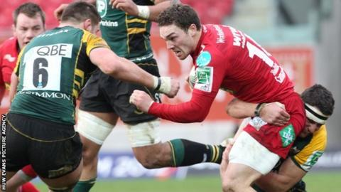 George North takes on Northampton in January, 2012
