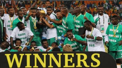 Nigeria celebrate winning the Africa Cup of Nations