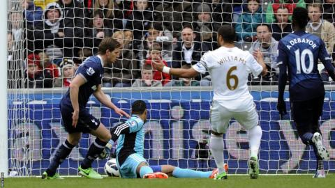 Tottenham Hotspur's Jan Vertonghen (left) scores an early goal against Swansea City in their Premier League game at the Liberty Stadium