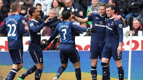 Jan Vertonghen and Gareth Bale celebrate for Spurs at the Liberty Stadium