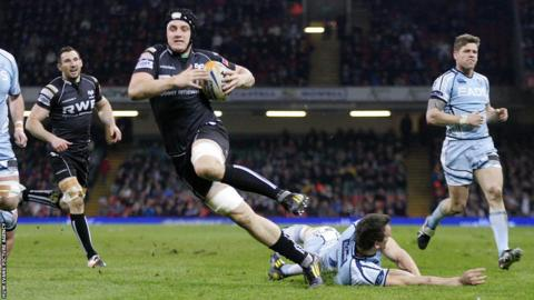 Flanker James King hits back for the Ospreys in their Pro12 clash with the Blues