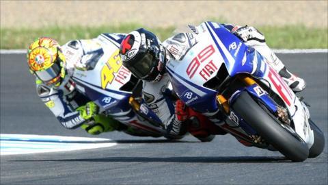 Jorge Lorenzo and Valentino Rossi in 2009
