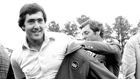 Seve Ballesteros is presented with his first Green Jacket