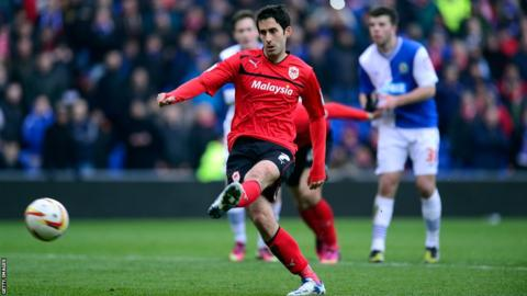 Peter Whittingham scores from the penalty spot deep in injury time to seal a 3-0 win for Cardiff over Blackburn and open up a seven-point lead at the top of the Championship