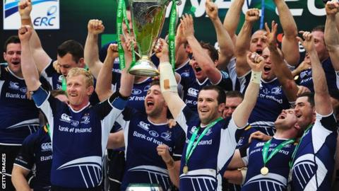 Leinster celebrate winning the 2012 Heineken Cup