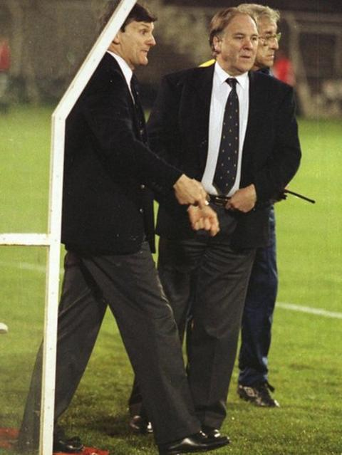 Outgoing Scotland boss Andy Roxburgh (left) and Craig Brown in Portugal