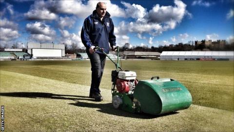 Durham's Riverside pitch being mowed