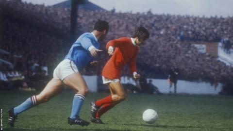 George Best (right) of Manchester United in a 1969 Manchester derby