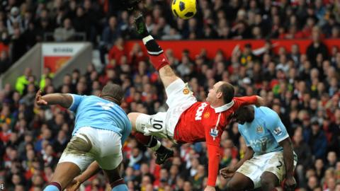 Wayne Rooney scores with a bicycle kick against Manchester City